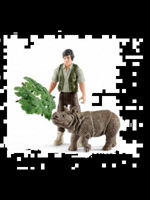 Schleich 42428 Ensemble de départ de ranger et de rhinocéros indien