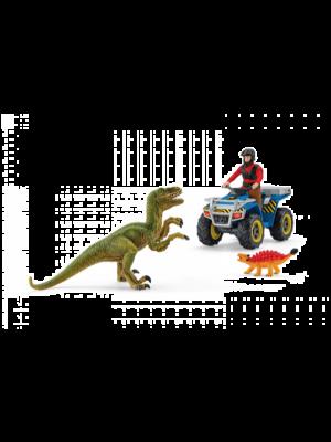 Schleich Dinosaurus 41466 Suite sur quad au velociraptor