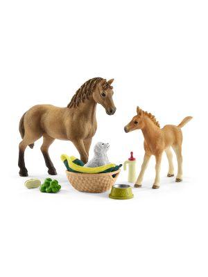 Schleich 42432 Ensemble de toilettage pour bébés et quart de cheval avec chiot
