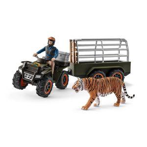 Schleich 42351 Quad avec remorque et ranger (incl. ranger et le tigre)