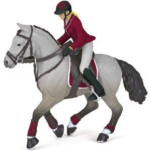 Papo 51563 Paard Wedstrijdpaard Met Zijn Ruiter