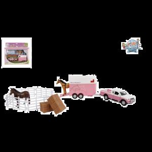 Kids Globe Mitsubishi met paardentrailer en uittrekbare accessoires roze 27cm 520205