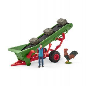 Schleich 42377 Bande transporteuse de foin avec fermier